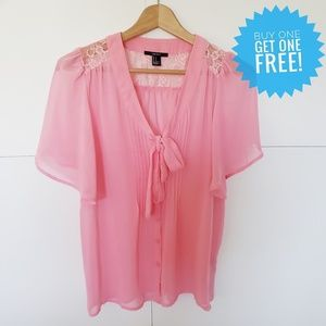 Forever 21 Sheer Pink Blouse with Lace Detail S